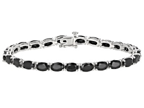 Pre-Owned Black Spinel Sterling Silver Tennis Bracelet 13.32ctw