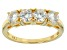 Pre-Owned Womens 4-Stone Band Ring Moissanite 1.30ctw Round 14k Gold Over Silver