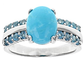 Pre-Owned Blue Sleeping Beauty Turquoise Sterling Silver Ring .61ctw