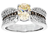 Pre-Owned Fabulite Strontium Titanate, White Zircon & Champagne Diamond Sterling Silver Ring 1.96ctw