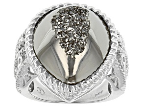 Pre-Owned Platinum Color Drusy Quartz Sterling Silver Ring