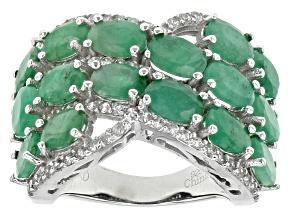 Pre-Owned Green Sakota Emerald Sterling Silver Ring 7.72ctw