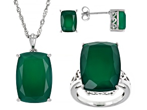 Pre-Owned Womens Solitaire Ring Stud Earrings Necklace Set Green Onyx Sterling Silver
