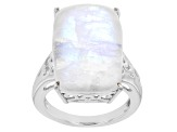 Pre-Owned White rainbow moonstone rhodium over silver ring, earrings, and pendant with chain set