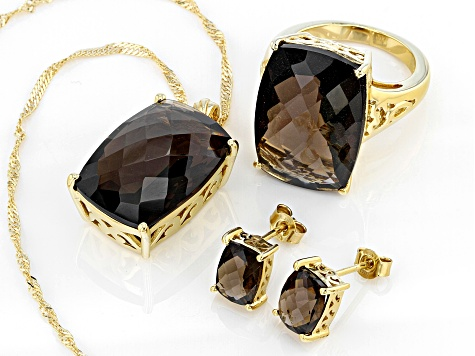 Pre-Owned Brown smoky quartz 18k gold sterling silver ring, pendant with chain, and earrings set 33.