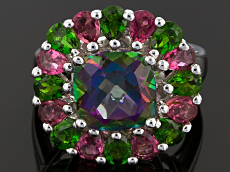 Pre-Owned Mystic® Green Topaz Sterling Silver Ring 4.93ctw
