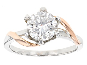 Pre-Owned Moissanite Fire® 1.50ct DEW Platineve™ With 14k Rose Gold Over Platineve Two Tone Ring