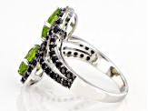 Pre-Owned Green Peridot Sterling Silver Ring 3.47ctw