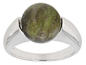 Pre-Owned Green Connemara Marble Sterling Silver Ring