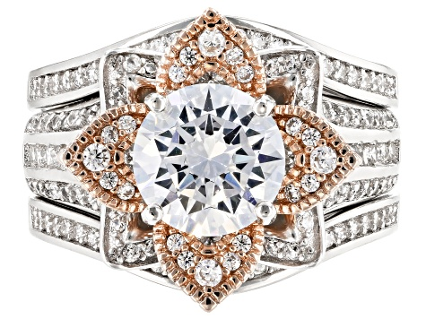 Pre-Owned White Cubic Zirconia Rhodium and 14k Rose Gold Over Sterling Silver Ring with Guard 5.49ct