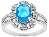 Pre-Owned Blue Ethiopian Opal Sterling Silver Ring 2.25ctw