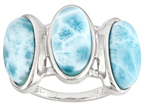 Pre-Owned Blue Larimar Sterling Silver 3-Stone Ring