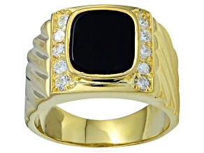 Pre-Owned Bella Luce® Diamond Simulant & Black Onyx 18k Gold Over Silver Gents Ring