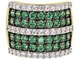 Pre-Owned Green & White Zirconia from Swarovski (R) 18k yellow gold over sterling silver ring 5.61ct