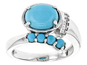 Pre-Owned Blue Turquoise Sterling Silver Bypass Ring