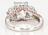 Pre-Owned Fancy Pink and White Zirconia From Swarovski ® Rhodium Over Sterling Silver Ring 9.54ctw
