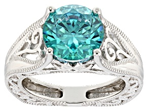 Pre-Owned Mint Green Cubic Zirconia Rhodium Over Sterling Silver Center Design Ring 6.58c