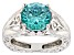 Pre-Owned Mint Green Zirconia From Swarovski ® Rhodium Over Sterling Silver Center Design Ring 6.58c