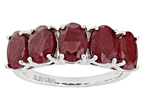 Pre-Owned Red Ruby Sterling Silver Band Ring 6.14ctw