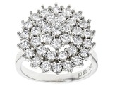 Pre-Owned White Cubic Zirconia Rhodium Over Silver Ring 3.26ctw