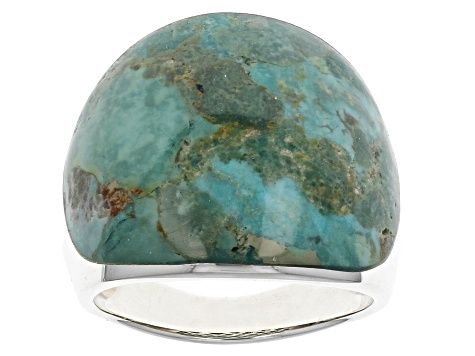 Pre-Owned Blue Turquoise Sterling Silver Ring