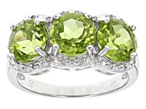 Pre-Owned Green Peridot Sterling Silver Ring 4.13ctw