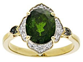 Pre-Owned Green Russian Chrome Diopside 18k Yellow Gold Over Sterling Silver Ring 2.94ctw