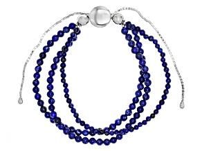 Pre-Owned Blue Lapis Lazuli Sterling Silver Bolo Bracelet