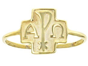 Pre-Owned 10K Yellow Gold and Alpha and Omega Cross Ring