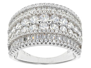 Pre-Owned White Cubic Zirconia Rhodium Over Sterling Silver Ring 4.50ctw