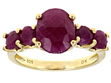 Picture of Pre-Owned Red ruby 18k gold over silver ring 4.58ctw