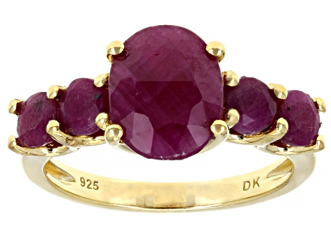 Pre-Owned Red ruby 18k gold over silver ring 4.58ctw