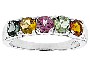 Pre-Owned Multicolor Tourmaline Sterling Silver Band Ring 1.10ctw