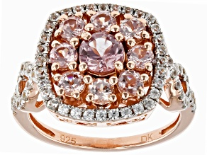 Pre-Owned Pink Color Shift Garnet 18k rose gold over silver ring