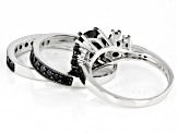 Pre-Owned Black Spinel Sterling Silver 3 Ring Set 3.92ctw