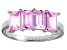 Pre-Owned Bella Luce® Emerald Cut Pink Diamond Simulant Sterling Silver 4 Stone Ring