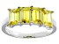 Pre-Owned Bella Luce® 4.52ctw Emerald Cut Yellow Diamond Simulant Sterling Silver Ring