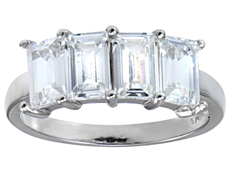 Pre-Owned Bella Luce® 4.52ctw Emerald Cut White Diamond Simulant Sterling Silver Ring