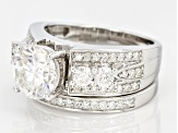 Pre-Owned Moissanite Platineve Bridal Set 3.29ctw D.E.W