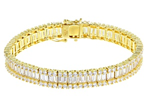 Pre-Owned White Cubic Zirconia 18k Yellow Gold Over Sterling Silver Bracelet 29.49ctw