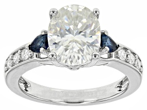 Pre-Owned Moissanite And Blue Sapphire Ring Platineve™