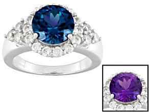 Pre-Owned Color Change Lab Created Alexandrite And White Zircon Sterling Silver Ring 3.23ctw