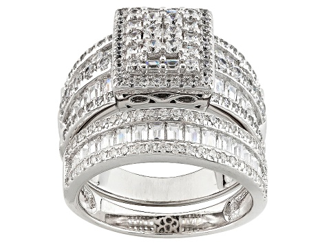Pre-Owned White Cubic Zirconia Rhodium Over Silver Ring With Band 4.32ctw