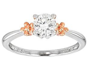 Pre-Owned Moissanite Platineve And 14k Rose Gold Over Sterling Ring .60ct DEW