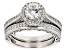 Pre-Owned White Cubic Zirconia Rhodium Over Sterling Silver Ring With Band 1.30ctw