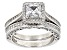 Pre-Owned White Cubic Zirocnia Rhodium Over Sterling Silver Ring With Band 1.30ctw