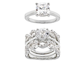 Pre-Owned white cubic zirconia rhodium over sterling silver rings with guard