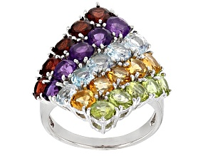 Pre-Owned Multi Color Sterling Silver Ring 6.50ctw