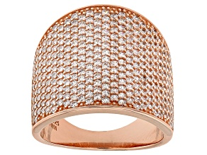 Pre-Owned White Cubic Zirconia 18k Rose Gold Over Sterling Silver Ring 3.67ctw