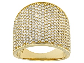 Pre-Owned White Cubic Zirconia 18k Yellow Gold Over Sterling Silver Ring 3.67ctw